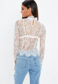 sleeve lace blouse nabilla x missguided white high neck sleeve lace top missguided