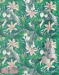 Removable Wallpaper Tiles by Tropical Green Leaves Wallpaper Removable Wallpaper
