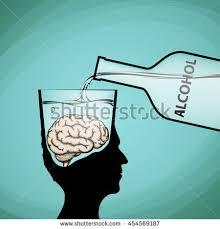 alcohol addiction violation brain functions stock stock vector