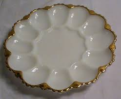 egg plate vintage anchor hocking milk glass with gold trim