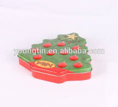 lovely small christmas tree shape cookies biscuits storage metal
