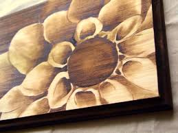 painting artwork on wood wood stain shading artwork wooden plaque w flower by sywoodink
