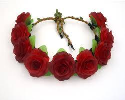 Dark Red Flower - dark red flower crownred rose headbandred flower