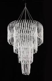 Clear Acrylic Chandelier Four Tier Large Iridescent Clear Beaded Chandelier 4 5
