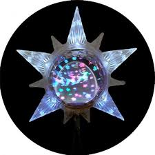 led lighted with revolving globe tree topper