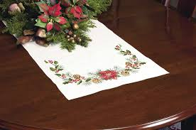 Christmas Table Decoration Kits by Amazon Com Dimensions Crafts Stamped Cross Stitch Table Runner