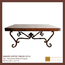 000 square coffee table iron base chocolate finish copper natural