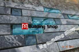 blue shell tile glass mosaic kitchen backsplash tiles sgmt026 grey