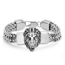 box chain bracelet images Shop steeltime men 39 s stainless steel lion head box chain bracelet jpg