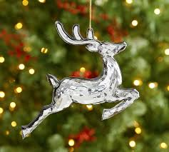 mirrored reindeer ornament pottery barn
