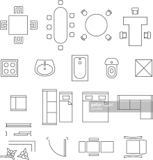 furniture icons for floor plans furniture linear vector symbols