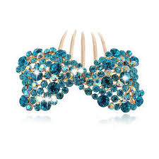 luxury hair accessories luxury sparkle turquoise blue bow knot wedding hair accessories
