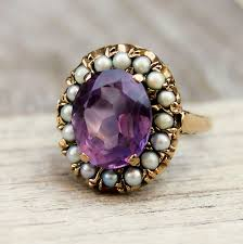 amethyst rings vintage images Vintage amethyst oval solitaire with baby seed pearls on antique jpg