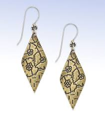 jody coyote jody coyote sterling silver bronze floral etched kite shape drop