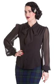 black pussybow blouse vintage 1940 50 s style bow blouse black hell
