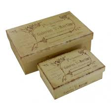 Decorative storage boxes set of 2 rectangular French vintage