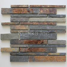 bronze aluminum multi color slate glass backsplash mosaic slate