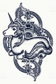 unicorn and dragon tattoo art symbol of dreams tales fantasies