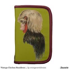 vintage chicken headdress bird hat woman antique folio planners