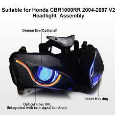 kt headlight for honda cbr1000rr 2004 2007 led optical fiber blue
