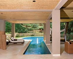 beige backyard house design idea with luxury pool plus pleasant