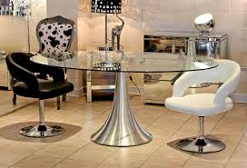 chair glass dining room tables and chairs chrome table cool oval