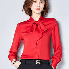 bow tie blouse plus size 2017 plus size sleeve bow tie satin shirts