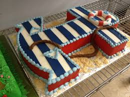 nautical themed striped anchor cake from something special bakery