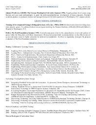 George Washington Resume Mr 2015 Resume