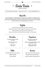 Resume Template For Waitress Linda Davis Waitress U0026 Maid Resume Template 64934