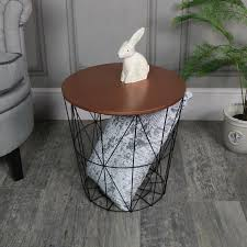 wire and wood basket side table wood copper table wire basket side occasional table storage solution