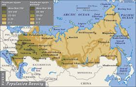 russia map by population map and population