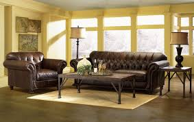 furniture brown leather tufted chesterfield couch plus bookcase