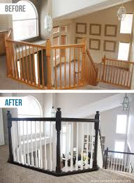 Oak Banister Black Railing White Spindles Paint Or Stain Black Railing White