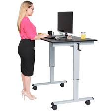 Standing Desk Adjustable Height by Furniture Adjustable Standing Desk With Silver Steel And Hand