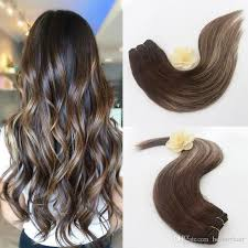 Light Brown Hair Extensions Cheap Straight Remy Human Hair Ombre Balayage Two Tone Colored