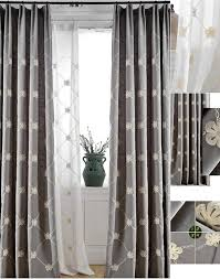 Curtains Floral Curtains Gray Floral Embroidery Linen Cotton Room Darkening