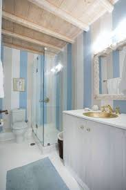 Striped Bathroom Walls Bathroom Beach Themed Bathrooms With Area Rug And Wood Beams Also