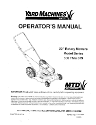 yard machines lawn mower 500 user guide manualsonline com