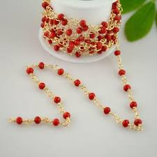 gold crystal beaded necklace images 2018 charms 4mm red crystal beads wire wrapped beaded 24k gold jpg