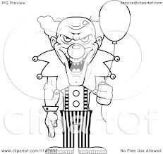 cartoon clipart of a black and white demonic clown holding a