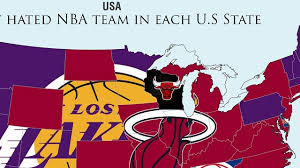 map usa nba angeles lakers and miami heat are most hated teams in america