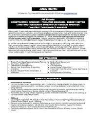 Manager Resume Template Microsoft Word Construction Superintendent Resume Sample Construction