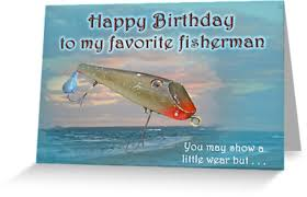 fisherman birthday card fishmaster vintage fishing lure