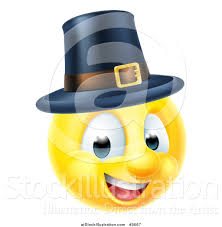vector illustration of a 3d thanksgiving pilgrim yellow smiley