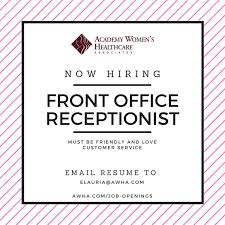 front desk jobs hiring now now hiring a front office receptionist december 2016 obgyn practice