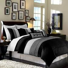 Modern Bedding Sets Queen Striped Black White And Grey Comforter Sets On Grey Bed Having
