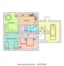 large bungalow floor plan colored room stock illustration