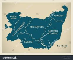 Suffolk County Map Print By Modern Map Suffolk County District Captions Stock Vector 685587949