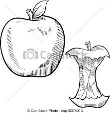 vector clip art of apple and apple core sketch doodle style